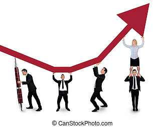 Isolated business team push arrow up - Isolated business...