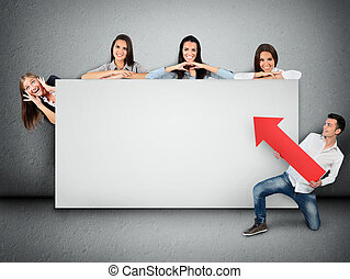 Empty banner with people