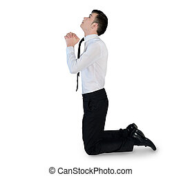 Business man pray looking up