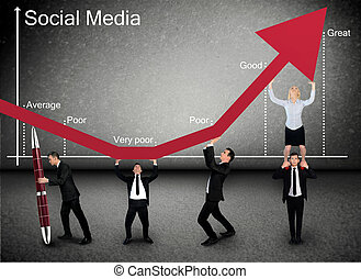 Business team push Social Media arrow up - Business team...