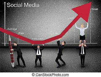 Business team push Social Media arrow up - Business team...