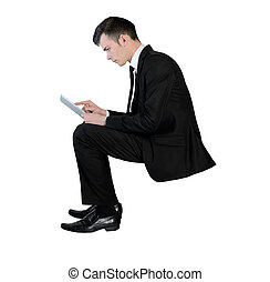 Business man with tablet pc - Isolated business man with...