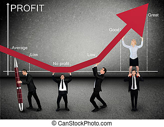 Business team push Profit arrow up - Business team push...