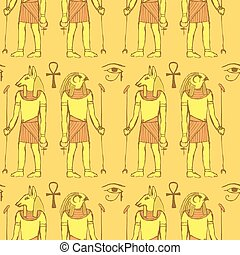 Sketch Egyptian gods in vintage style