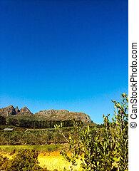 Stellenbosch, South Africa - View of the farm Hidden Valley,...