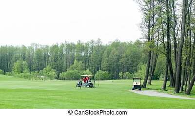 Golf cars on green field