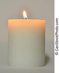 White Candle with flame - White coloured light candle with...