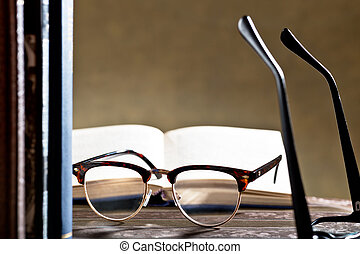 eyeglasses with books - still life with eyeglasses and books...
