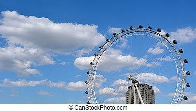 London Eye - London UK - Panoramic view of London Eye in...