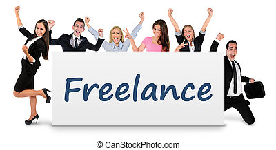 Freelance word on banner - Freelance word writing on banner
