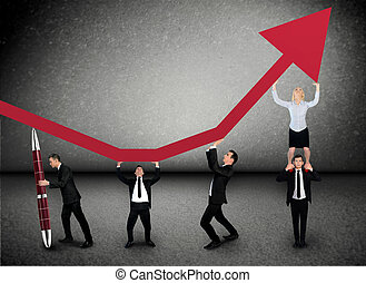 Business team push arrow up - Business team push graphic...