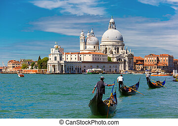Gondolas on Canal Grande in Venice, Italy - Picturesque view...