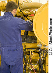 Engine maintenance - A technician performing periodic engine...