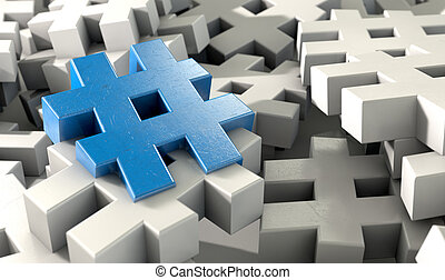 Hashtag Concept - A concept image showing a scattered...