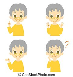 Oldwoman, speakin,surprised,confuse - old woman expressions,...