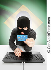 Cybercrime concept with national flag on background - Brazil...