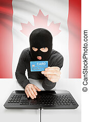 Cybercrime concept with national flag on background - Canada...