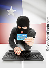 Cybercrime concept with national flag on background - Chile...