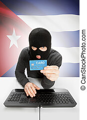 Cybercrime concept with national flag on background - Cuba -...