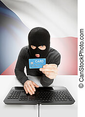 Cybercrime concept with national flag on background - Czech...