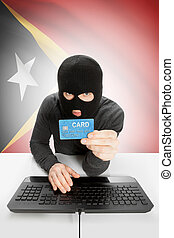 Cybercrime concept with national flag on background - East...