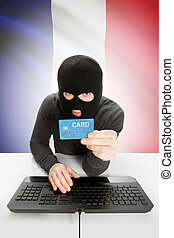 Cybercrime concept with national flag on background - France...