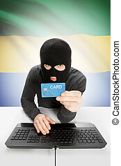 Cybercrime concept with national flag on background - Gabon...