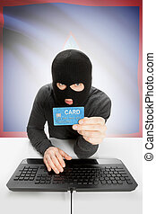 Cybercrime concept with national flag on background - Guam -...