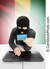 Cybercrime concept with national flag on background - Guinea...