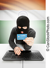 Cybercrime concept with national flag on background - India...