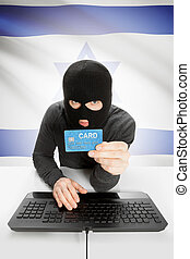 Cybercrime concept with national flag on background - Israel...