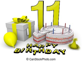 Happy birthday in yellow - Happy birthday with cake, present...