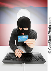 Cybercrime concept with national flag on background - Laos -...