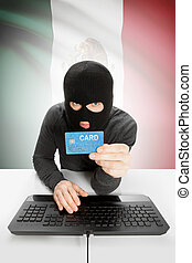 Cybercrime concept with national flag on background - Mexico...