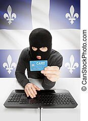Cybercrime concept with Canadian flags on background -...