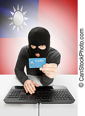 Cybercrime concept with national flag on background - Taiwan...