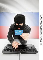 Cybercrime concept with national flag on background - Russia...