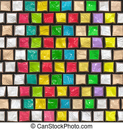 colorful cobble stone pattern - seamless glossy 3d texture...