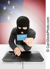 Cybercrime, concetto, con, nazionale, bandiera, su, fondo,...