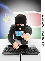 Cybercrime concept with national flag on background - South...