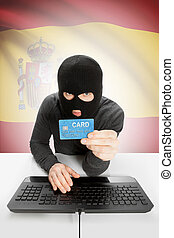 Cybercrime concept with national flag on background - Spain...
