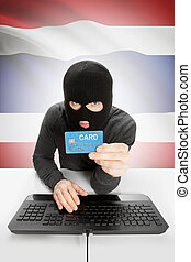 Cybercrime concept with national flag on background -...