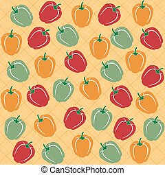 Seamless pattern of sweet peppers of different colors