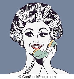 Woman with curlers in their hair talking at phone, isolated...
