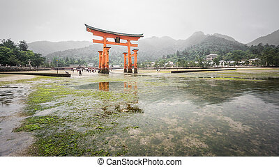 Miyajima, Floating Torii gate, low tide, Japan.