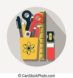 Stationery & pencil case set icon - Pencil case, pencils,...