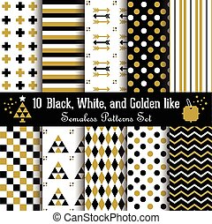 Set of geometrical Aztec patterns - Set of abstract...