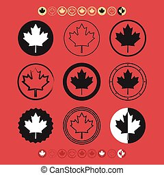 Canadian Flag Maple Leaf icons set - Canadian silhouette...