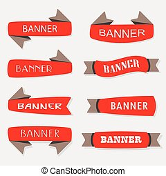 Red inflated ribbon banners icons set in different shapes