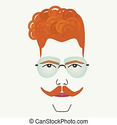Young red hair hipster male with frame less blue lenses...